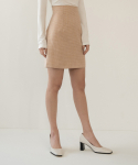 리올그(REORG) FOR TWEED MINI SKIRT GOLD