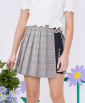 로라로라() (SK-20145) SET-UP CHECK PLEAT WRAP SKIRT NAVY