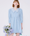 로라로라(ROLAROLA) (OP-20111) CHECK PUFF-SLEEVE ONE-PIECE BLUE