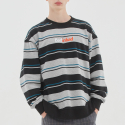 배드인배드() MULTI STRIPED SWEATSHIRT_BLACK