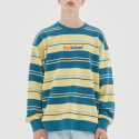배드인배드() MULTI STRIPED SWEATSHIRT_BLUE GREEN