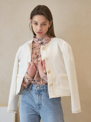 T01-TWEED JACKET WHITE