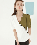 White & Green Blouse with Wavy Line