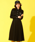 PLEATS SHIRT DRESS-BLACK