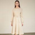 아쿠드() Rita Belted Flare One-piece_Beige