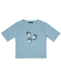 하이스쿨디스코(HIGH SCHOOL DISCO) Strawberry Crop T-shirt_Sky Blue