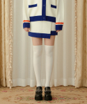 하트클럽(HEART CLUB) Heart Color Block Knit Skirt_Iovry