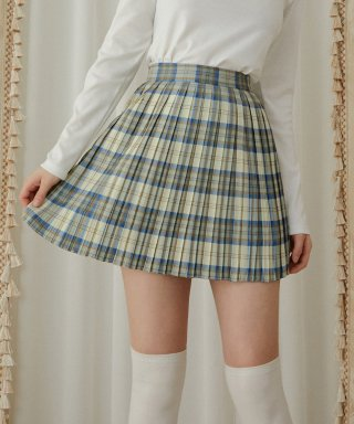 하트클럽(HEART CLUB) Heart Pleats Skirt_Blue Check