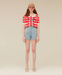 오아이오아이(OiOi) BACK POINT DENIM SHORTS_light blue