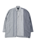 아조바이아조(AJOBYAJO) Oversized Stripe Mixed Shirt [Blue]