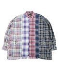 아조바이아조(AJOBYAJO) Oversized Check Mixed Shirt [Magenta]