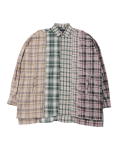 아조바이아조(AJOBYAJO) Oversized Check Mixed Shirt [Green]