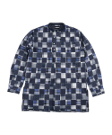 아조바이아조(AJOBYAJO) Pattern Mixed China Collar Shirt [Navy]