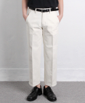 제로() Wide Crop Crease Cotton Pants [Cream]