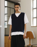 오파츠() Knitting V Neck Vest Navy