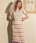 살롱 드 욘() Romantic Spangle Midi Skirt_ Ivory