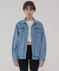 레이디 볼륨(LADY VOLUME) Denim banding trucker jacket_blue