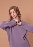 블론드나인(BLOND9) ROUND KNIT SWEATER_PURPLE