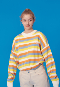 블론드나인(BLOND9) WAPPEN STRIPE KNIT SWEATER_YELLOW
