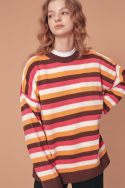 블론드나인(BLOND9) WAPPEN STRIPE KNIT SWEATER_BROWN