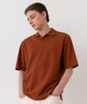 가먼트레이블(GARMENT LABLE) Pique Collar T-Shirt -BROWN