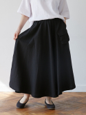 말렌() linen pocket skirt black