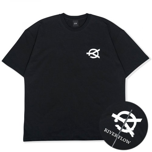 오와이(OY) RIVER FLOW LOGO ZIPPER T-BLACK
