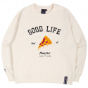 로맨틱크라운(ROMANTIC CROWN) [PIZZAHUT X RMTCRW]GOOD LIFE SWEAT SHIRT_OATMEAL