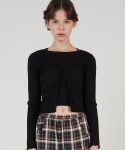 매치글로브() MG0S TWO BUTTON CROP CARDIGAN (BLACK)