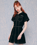 네스티팬시클럽(NASTY FANCY CLUB) [NF]FANCY COLLAR SHIRT ONE-PIECE (BLACK)(20SS-F806)