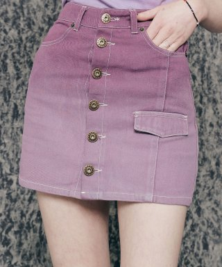 네스티팬시클럽(NASTY FANCY CLUB) [NF]FANCY GRADATION BUTTON-UP MINI SKIRT (PURPLE)(20SS-F709)