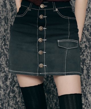 네스티팬시클럽(NASTY FANCY CLUB) [NF]FANCY GRADATION BUTTON-UP MINI SKIRT (BLACK)(20SS-F709)