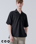 씨오큐() Open collar linen half shirt_black