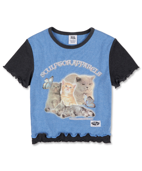 Kitten Layered Tee [HEATHER BLUE]