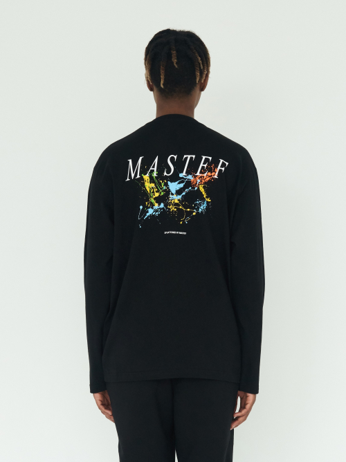 마스테프(MASTEF) Philosophy Collection: Black Paint Splatter Long Sleeves