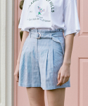 로라로라(ROLAROLA) (PT-20342) SET-UP CHECK BELT BERMUDA SHORTS BLUE
