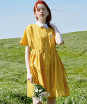 로라로라(ROLAROLA) (OP-20314) RIBBON SHIRT COLLAR ONE-PIECE YELLOW
