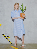 클루 드 클레어(CLUE DE CLARE) flare shirt dress Blue