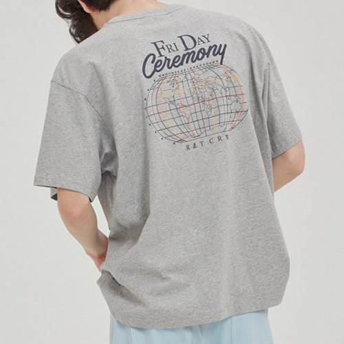 FRIDAY WORLD MAP TEE_GREY