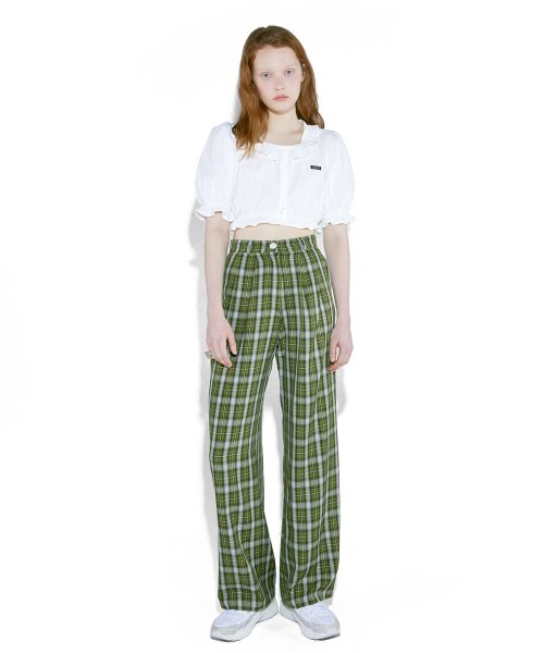 스컬프터(SCULPTOR) Check Wide Leg Pants [GREEN]