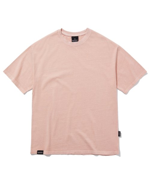 그루브라임(GROOVE RHYME) BASIC PIGMENT OVER FIT T-SHIRTS (PINK) [GTS764I23PI]