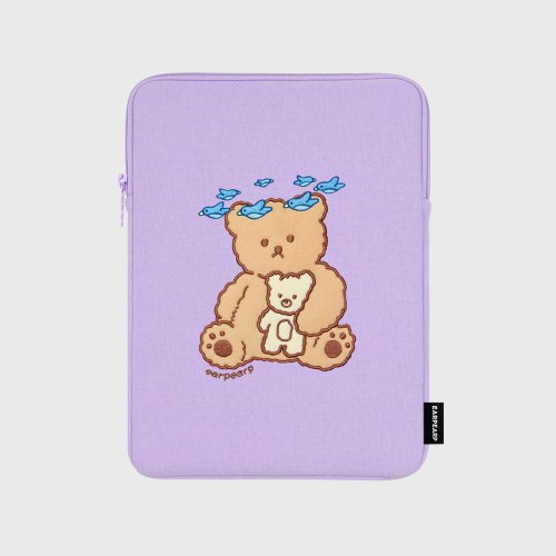 어프어프(EARPEARP) Blue bird bear-purple-ipad pouch(아이패드 파우치)