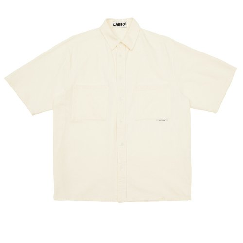 랩101(LAB101) TWO POCKET IVORY BLEACHED SHIRT