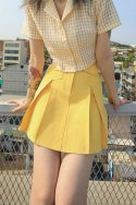 하이스쿨디스코(HIGH SCHOOL DISCO) Macaron Pleated Skirt_Yellow