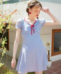 살롱 드 욘(SALON DE YOHN) Ribbon Point Mini Dress_ Blue