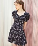 살롱 드 욘(SALON DE YOHN) Square Neck Mini Dress_ Navy