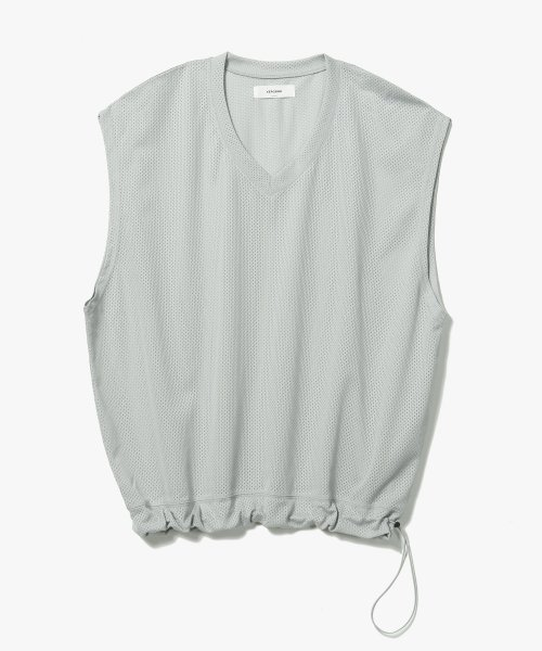 Mesh String V-Neck Vest [Light Grey]