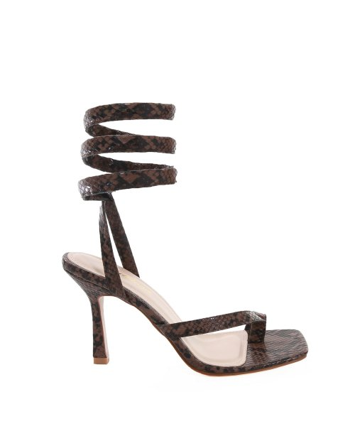 배드블러드(BADBLOOD) NICO SNAKE LEATHER SPIRAL SANDAL IN BROWN