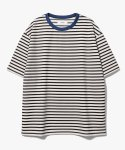 제로(XERO) Point Neck Stripe T-Shirts [Black/Blue]