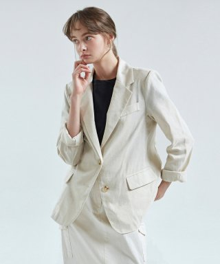 Carina Single Linen Jacket_Oatmeal